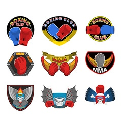 Set of boxing emblems logos and stripes MMA fight vector image vector image