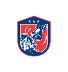 American Patriot Ringing Liberty Bell Woodcut vector image