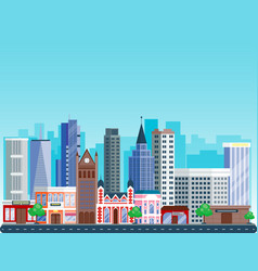city outdoor day landscape house and street vector image vector image