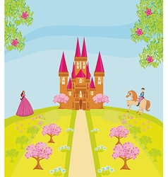 Knight and pricess scene with castle vector image vector image