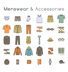 Men fashion clothes and accessories flat line vector image
