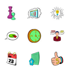 office work icons set cartoon style vector image vector image