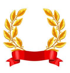 realistic gold laurel wreath with red ribbon vector image vector image