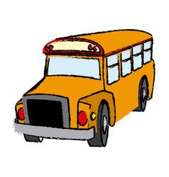 yellow bus vehicle school transport vector image