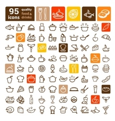 food icons big set vector image vector image