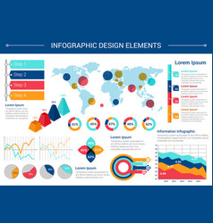 Infographic elements design with world map charts vector