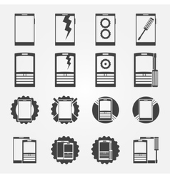 Mobile phone service icon set vector image