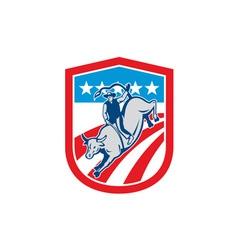 American rodeo cowboy bull riding shield retro vector