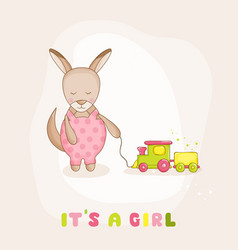 baby kangaroo with a train - baby shower card vector image vector image