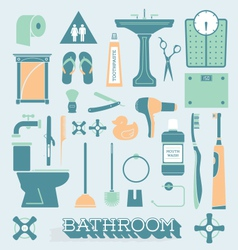 Bathroom icons and silhouettes vector