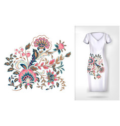 embroidery colorful trend floral pattern vector image vector image