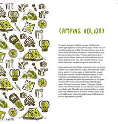 hand drawn decoration with camping holiday vector image vector image