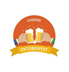 oktoberfest beer festival flat badge vector image vector image