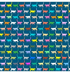 Seamless wallpaper with colorful silhouettes cats vector image