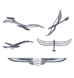 set of flying bird vector image