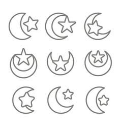 set of monochrome icons with symbol of islam vector image