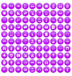 100 glasses icons set purple vector