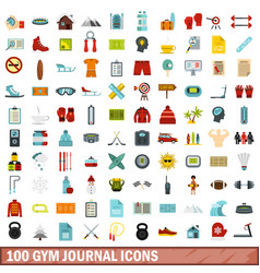 100 gym journal icons set flat style vector image