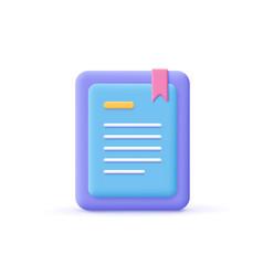 3d cartoon style minimal e-book reader e-reader vector