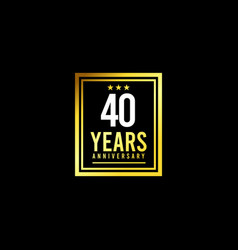 40 years anniversary gold square design logo vector