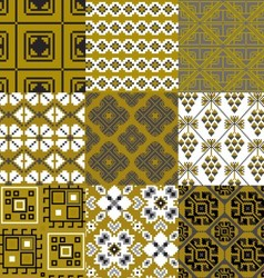 9 retro floral geometry seamless patterns vector