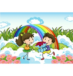 A couple dating near the rainbow vector image