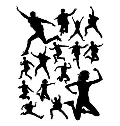 active people jumping silhouette vector image