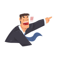 angry businessman screaming and pointing office vector image