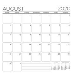August 2020 monthly calendar planner template vector