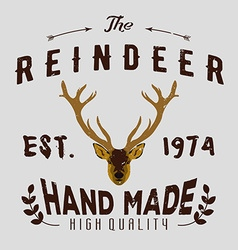 Authentic hipster logotype with reindeer vector