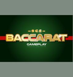Baccarat word text logo banner postcard design vector