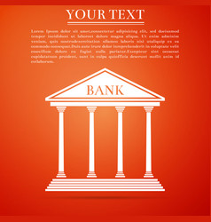 bank building icon isolated on orange background vector image