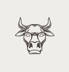 black and white bull head vector image