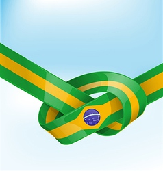 brazil ribbon flag on background vector image vector image