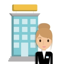 Building and receptionist hotel design vector