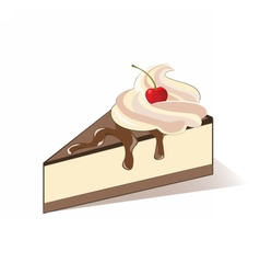 Cake slice with cream and cherry vector