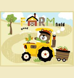 cartoon of cute farmer on yellow tractor vector image