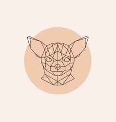 Chihuahua head geometric triangular trendy stile vector