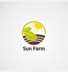 circle sun farm logo icon element and template vector image
