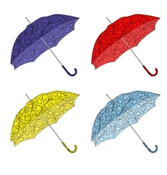 colorful painted umbrellas vector image