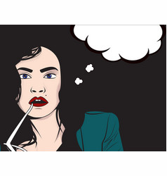 comics style woman with glass vector image