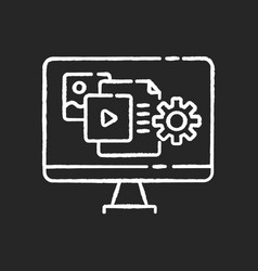 Content manager chalk white icon on black vector