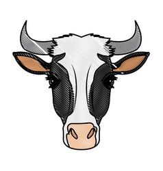 Cow head horns aminal rural farm vector