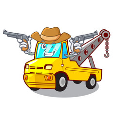 Cowboy cartoon tow truck isolated on rope vector