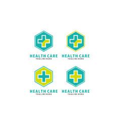 Cross plus medical logo icon design template elem vector