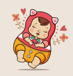 Cute newborn baby girl vector