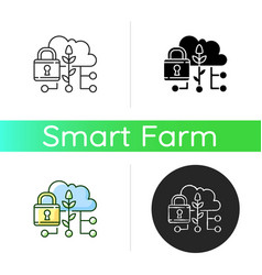 data security in agriculture icon vector image