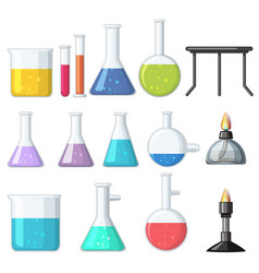 different types of beakers and burners vector image vector image