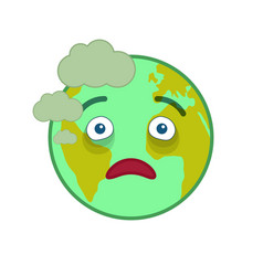 Diseased world globe isolated emoticon vector