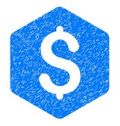 Dollar hexagon grunge icon vector